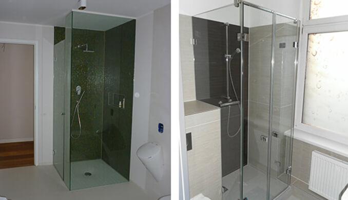 Bilder von zwei Glasduschen, eine mit und eine ohne getöntes Glas